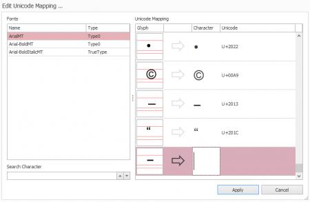 Screenshot: axesPDF QuickFix: Edit Unicode Mapping ...