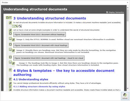 Screenshot axesPDF QuickFix: Screenreader Preview